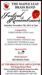 Remembrance Day Concert – Brockville @ Brockville Arts Centre   Brockville   Ontario   Canada